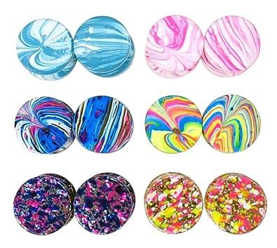 LilMents Juego de 6 pares de dilataciones falsas para las orejas, 12 mm, diseño de pinturas de colores, acero inoxidable: Amazon.es: Joyería