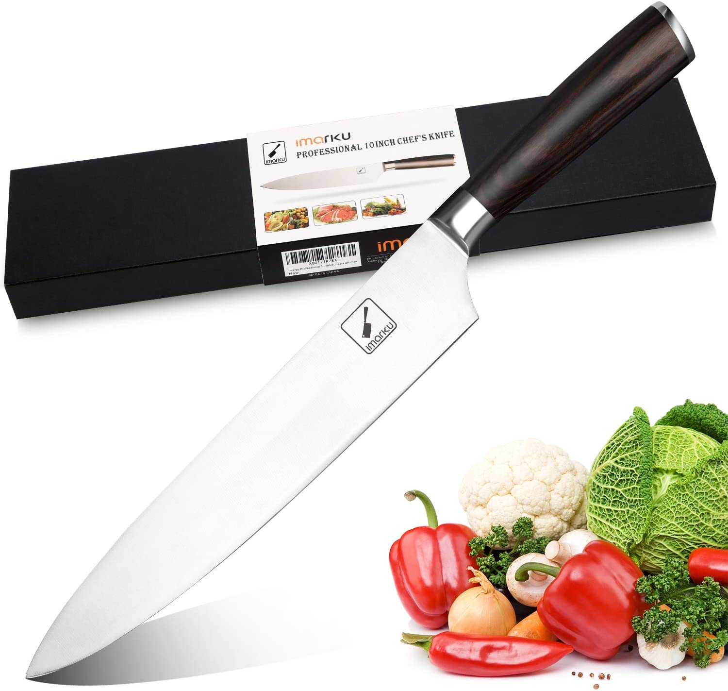 imarku Chef Knife 10 inch, High-Carbon German Stainless Steel Pro Kitchen Knife with Ergonomic Handle and Gift Box, Chef's Knives for Professional Use