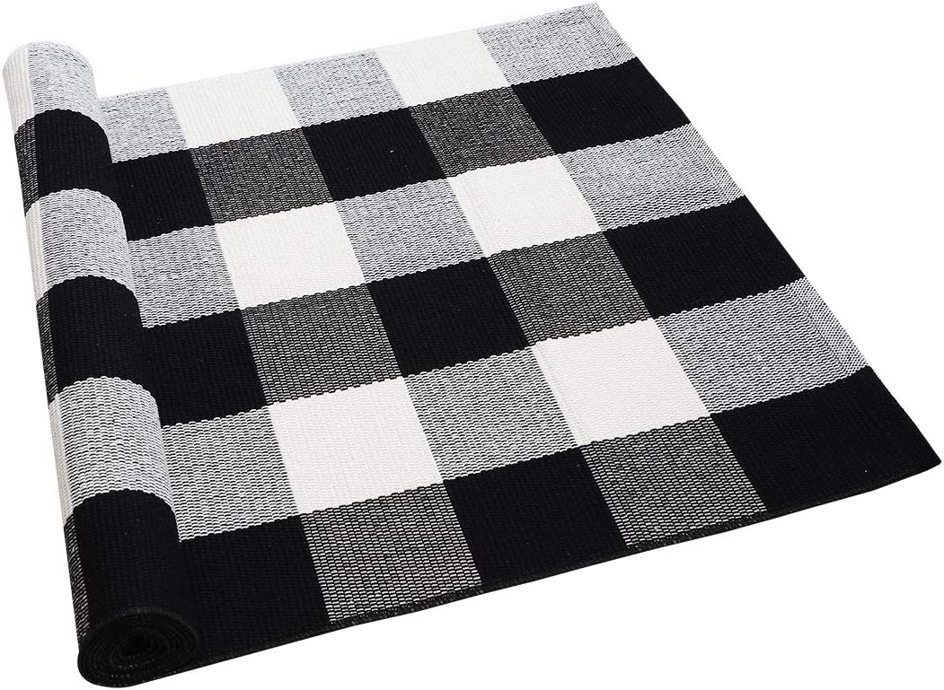 uxcell Cotton Plaid Area Floor Rugs Carpet Indoor Outdoor, Woven Washable Buffalo Checkered Mat Rugs, Retro Doormat Runner Rug for Front Porch Black and White 70.9 X23.6 Inches