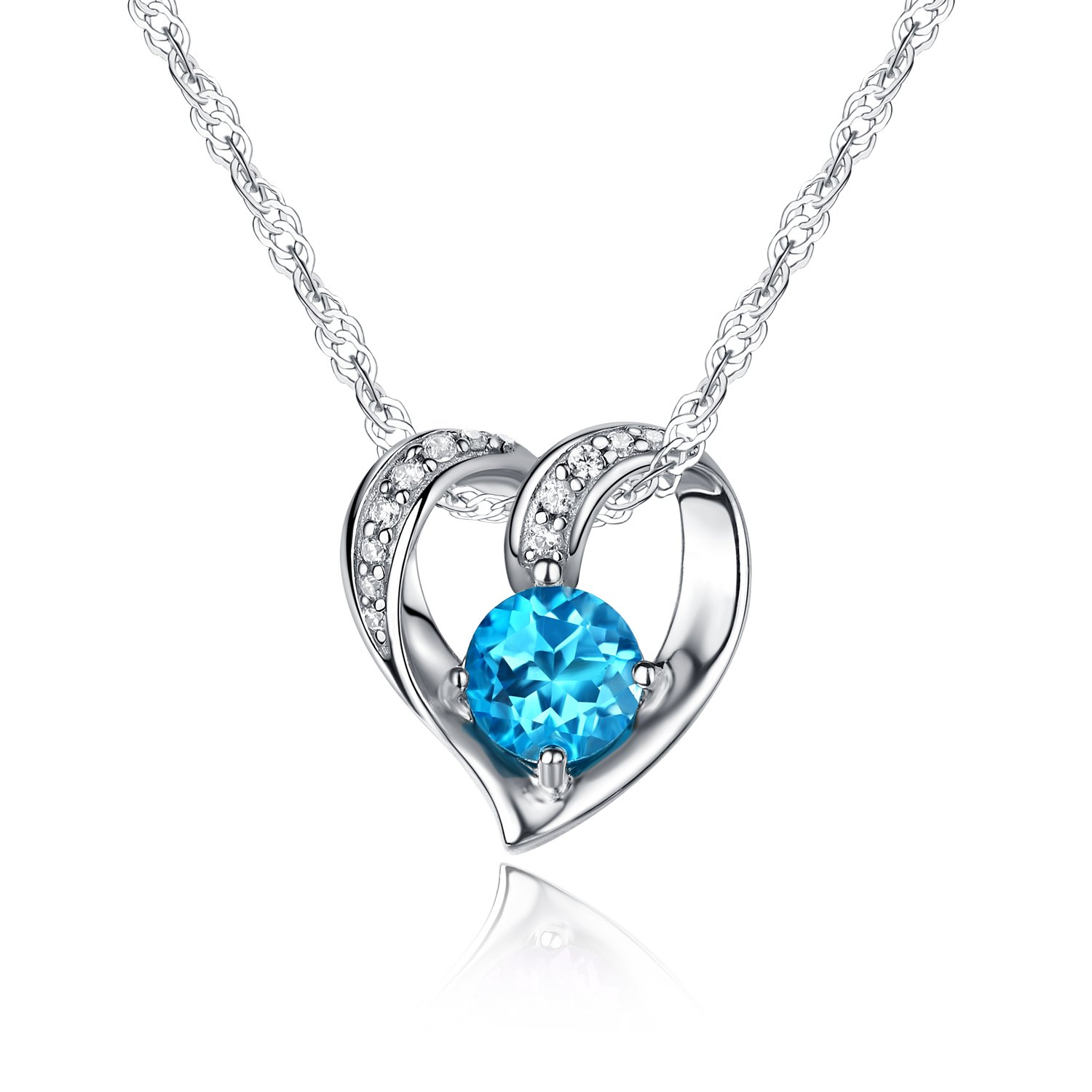 Ideal Gifts Sterling Silver and Natural Swiss-blue Topaz Gemstone Heart Style Pendant Necklace,18''