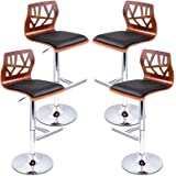 Artiss 4 x Adjustable Bar Stool Swivel Counter Bar Chair Leather Wood Kitchen Dining Stool