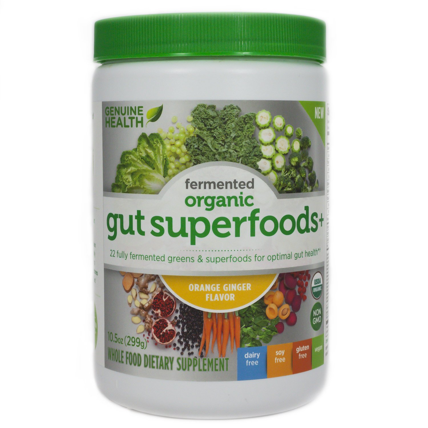 Genuine Health Fermented Organic Gut Superfoods+, Orange Ginger, 10.5 Ounce