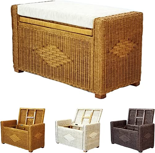 Bruno Handmade 26 Inch Rattan Wicker Chest Storage Trunk Organizer Ottoman W Cushion Colonial Light Brown