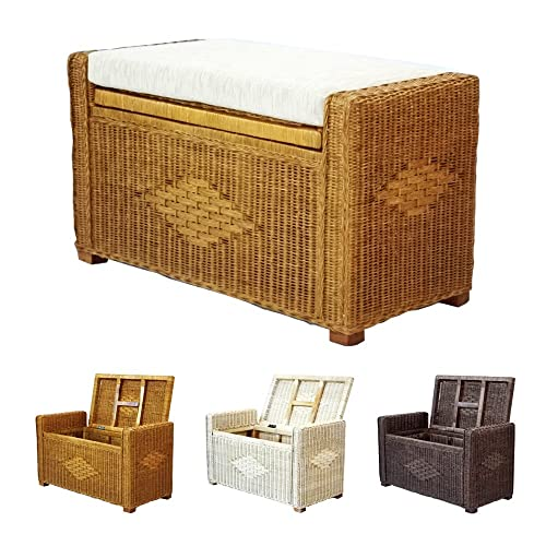 Bruno Handmade 32 inch Rattan Wicker Chest Storage Trunk Organizer Ottoman W Cushion Colonial Light Brown
