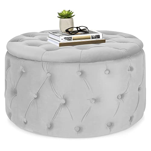 Best Choice Products 29.5in Round Modern Button-Tufted Velvet Ottoman Footrest Stool Accent Furniture – Light Gray