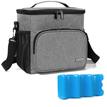 Perfect for Nursing Mom Back to Work Baby Bottles Bag for up to 4 Large 9 Ounce Bottles and Ice Pack Gray Teamoy Breastmilk Cooler Bag with Ice Pack