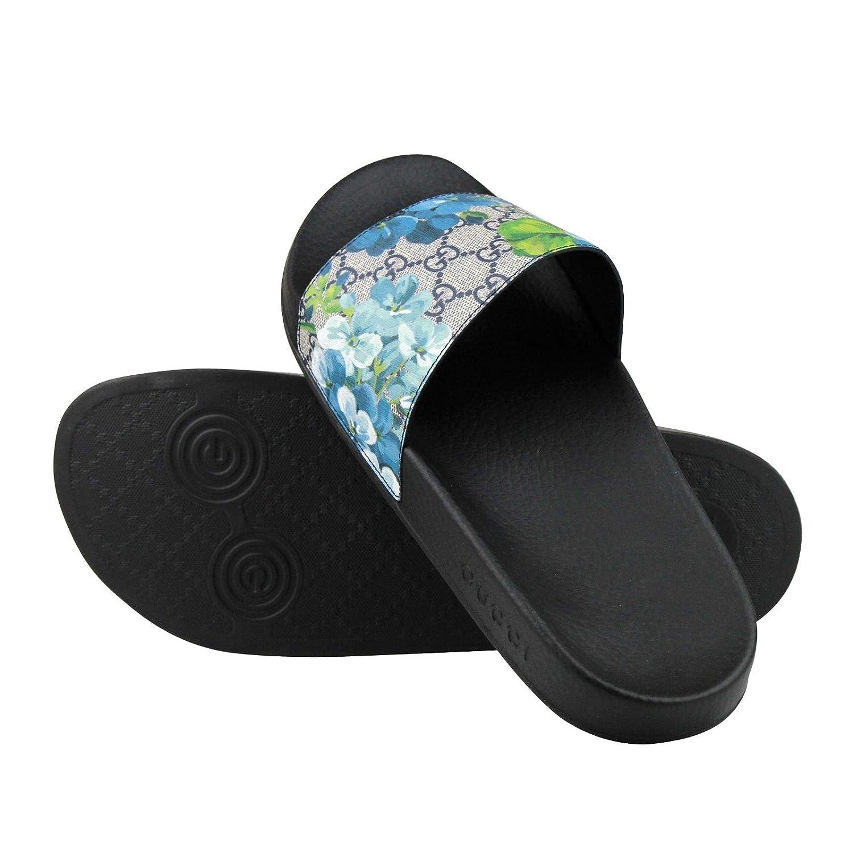 1dbe79e21c6 Amazon.com  Gucci Bloom Print Blue Supreme GG Canvas Flower Slide Sandals  407345 8498 (14 G   15 US)  Shoes