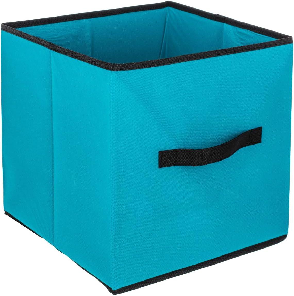 1 Meuble de Rangement /étag/ère casier 3 Bo/îtes de Rangement tiroirs Coloris Bleu Turquoise et Gris ID SPACE Ensemble de 4 pi/èces