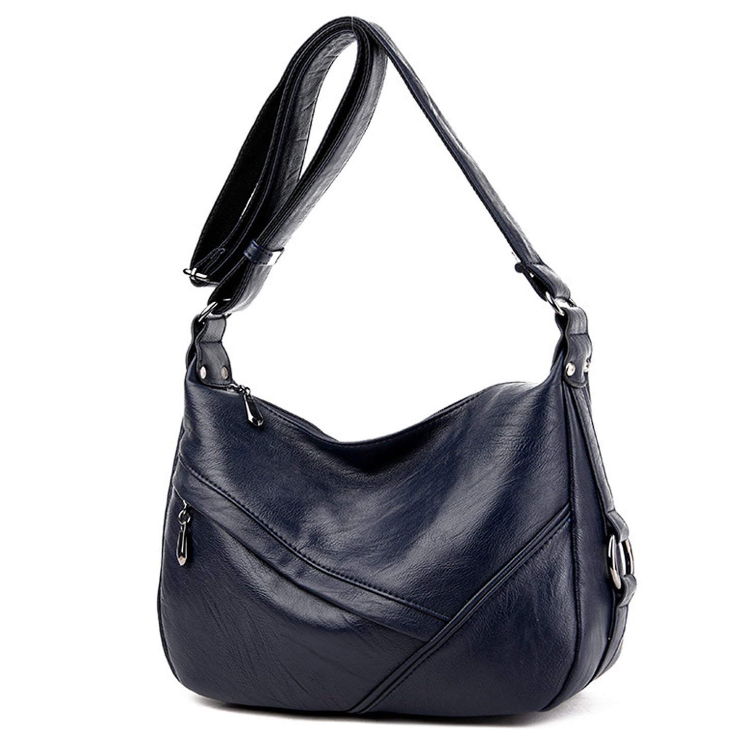 Lustear Ladies Soft Leather Shoulder Bags Hobo Style Bag (Dark Blue)