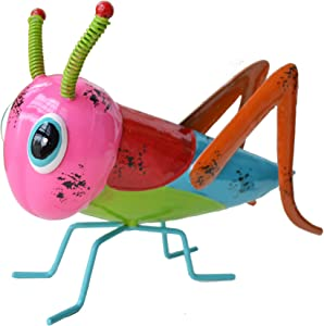 GIFTME 5 Metal Yart Art Colorful Grasshopper Garden Statues for Patio Yard Lawn Tree Locust Figurines Indoor or Outdoor Decorations,9.5 Inch Pink