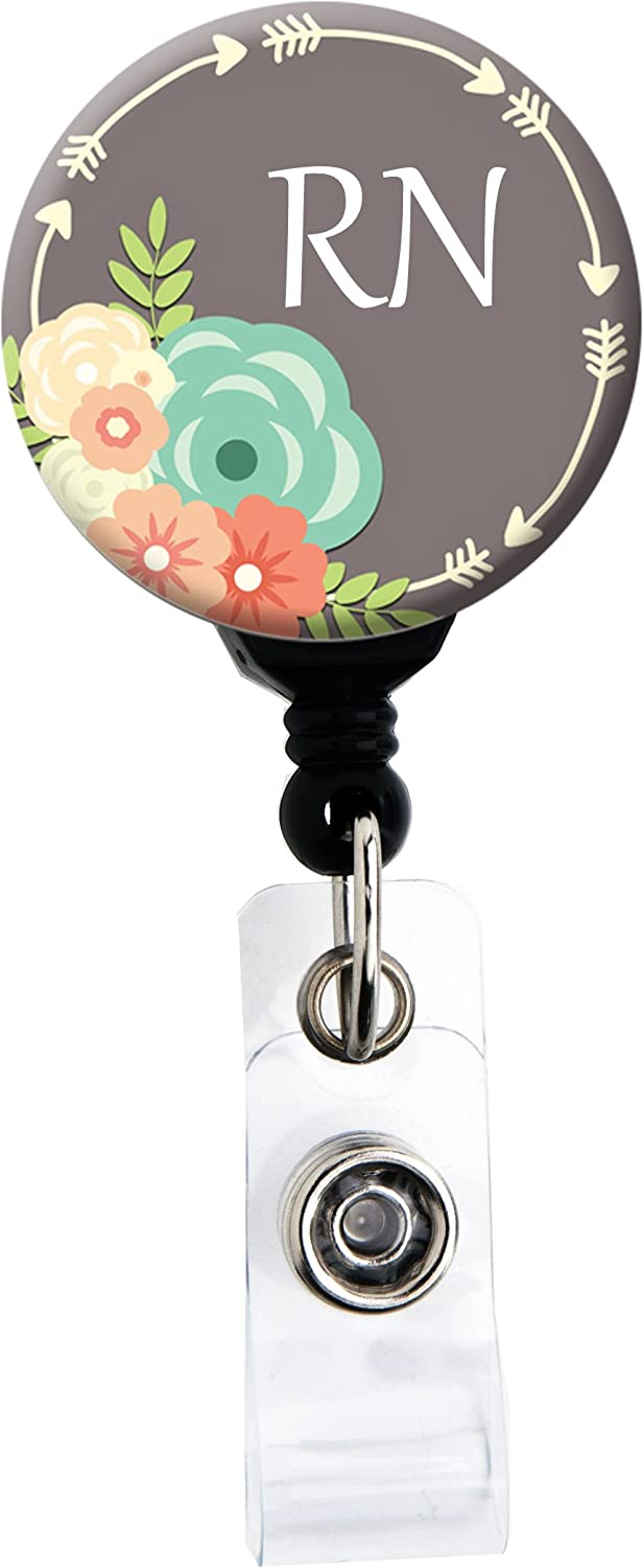 Badge Holder Retractable Badge Reel with Swivel Clip and Extra-Long 34 inch Cord Choose Joy Purple Arrows