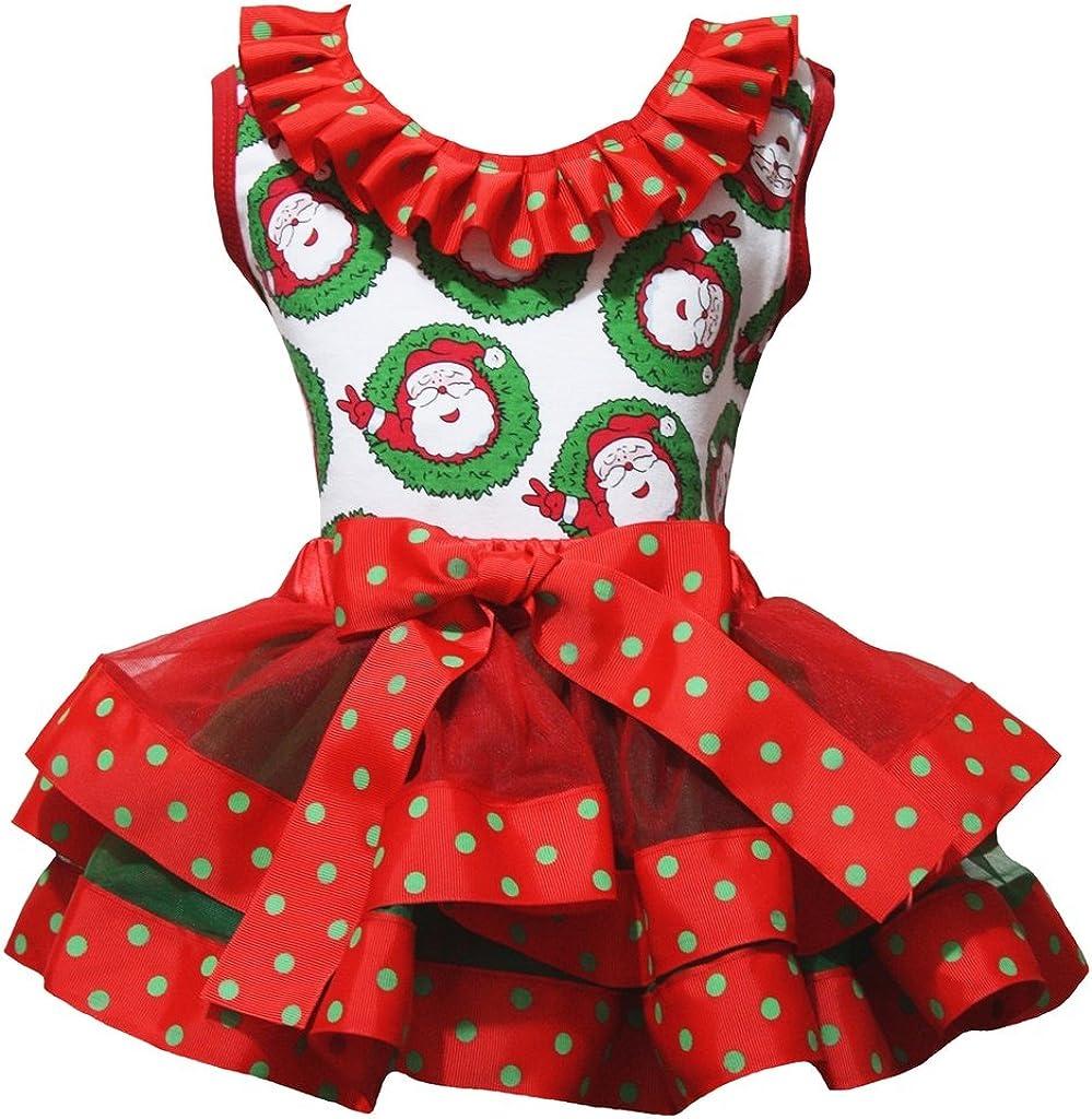 Petitebella Santa Claus Shirt Red Ribbon Petal Skirt Xmas Outfit Set Nb-8y