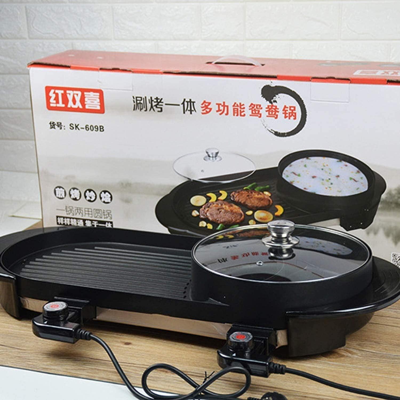 Barbecue Grill Portable, Portable électrique Grill Bbq d'intérieur en plein air, avec 1 Mini casseroles, température double commande séparée, carré lili (Color : Square) Round
