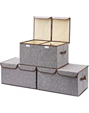 Large Storage Boxes [3-Pack] EZOWare Large Linen Fabric Foldable Storage Cubes Bin Box Containers with Lid and Handles for Home, Office, Nursery, Closet, Bedroom, Living Room (Gray)
