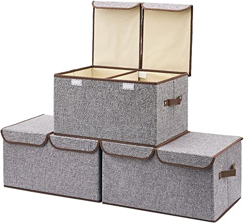 EZOWare Caja de Almacenaje x 3 Sets Almacenaje Juguetes, Caja para Ropa (Gris): Amazon.es: Hogar