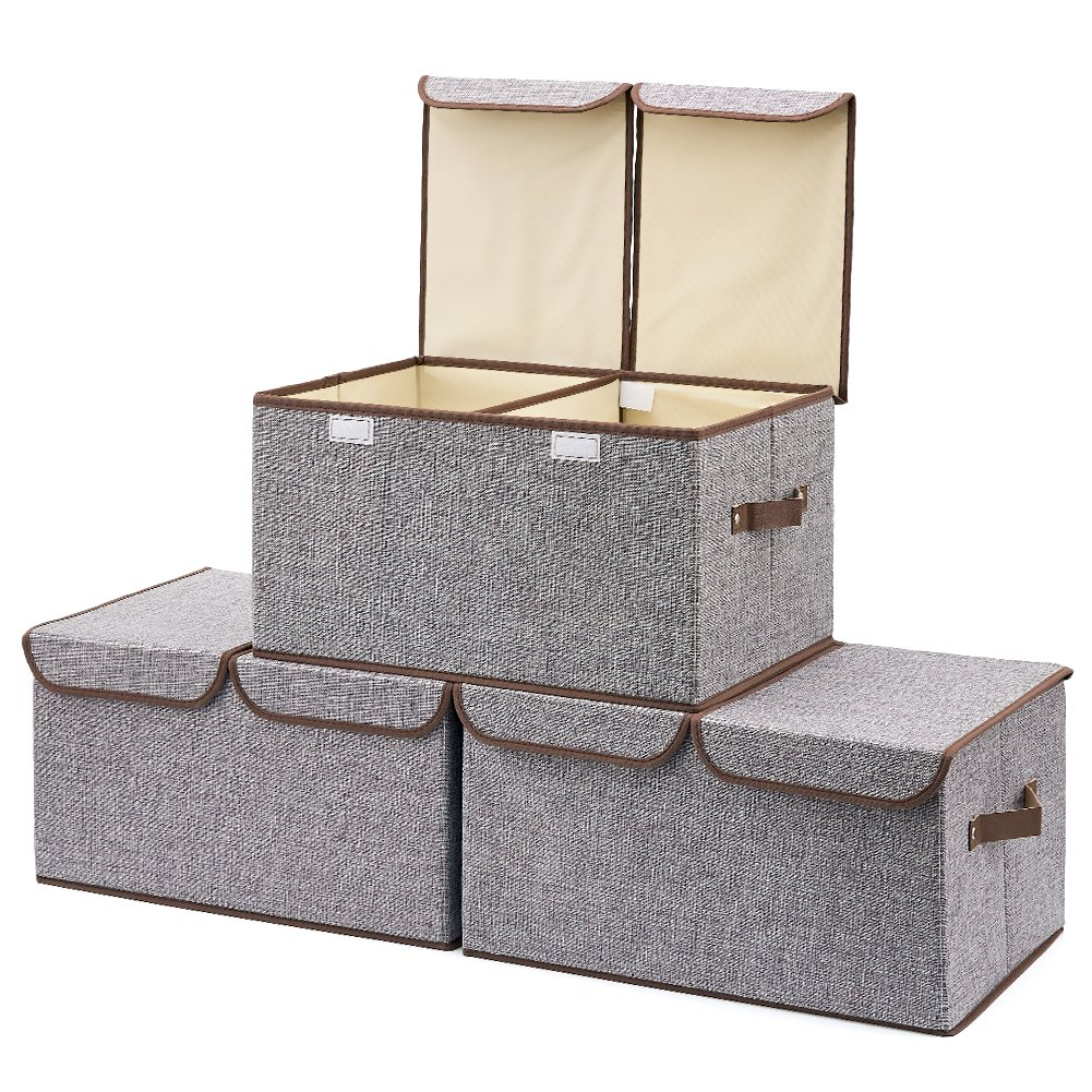 EZOWare Large Storage Boxes [3-Pack] Large Linen Fabric Foldable Storage Cubes Bin Box Containers with Lid and Handles - Gray for Home, Office, Nursery, Closet, Bedroom, Living Room