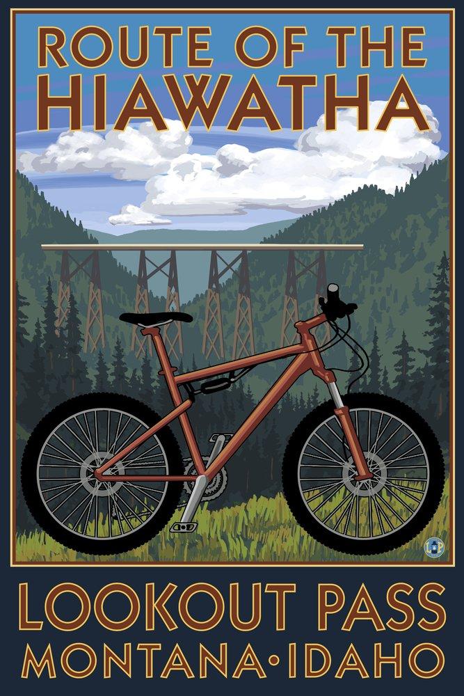 ルートのHiawathaセントRegis、モンタナ州 – Mountain Bikeシーン 12 x 18 Art Print LANT-45605-12x18 B00N5CQKY0 12 x 18 Art Print12 x 18 Art Print