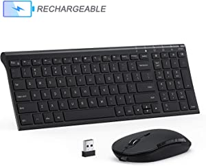 Rechargeable Wireless Keyboard Mouse Combo, Jelly Comb 2.4GHz Ultra Slim Compact Full Size Wireless Keyboard Mouse for Laptop, PC, Desktop Computer, Windows OS - Black