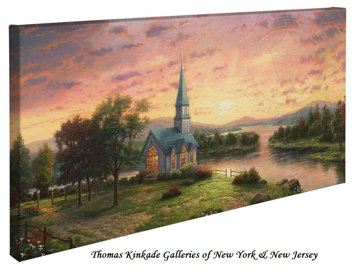 Sunrise Chapel - Thomas Kinkade 16'' X 31'' Gallery Wrapped Canvas by Thomas Kinkade wrapped canvas