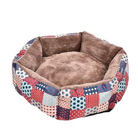 Pet Dogs Beds - Cojín de peluche extraíble impermeable con patrones coloridos para cama de invierno