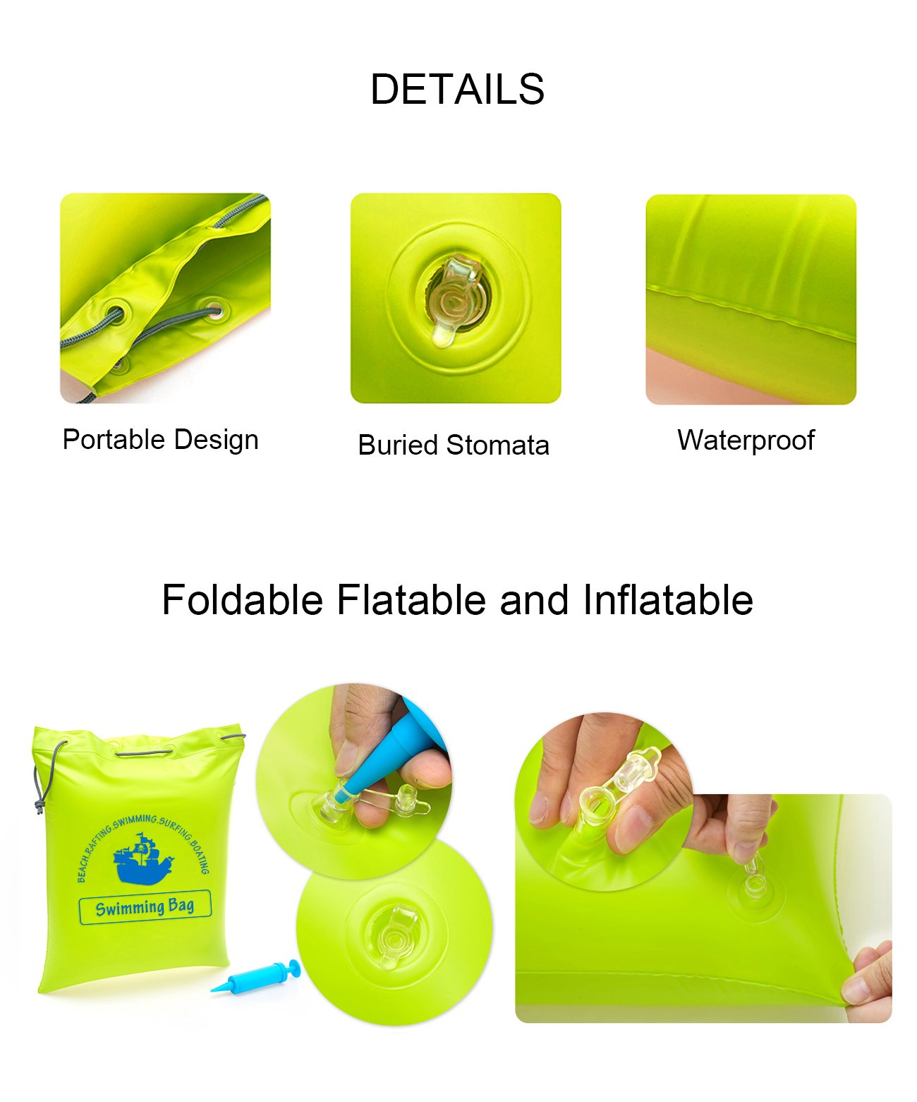ZEPST Waterproof Swimming Bag Inflatable, Multi-purpose Carrying Bag Dry Bag and Air Pillow Cushion for the Beach Backpacking Swimming Kayaking and Outdoor Camping (Green)