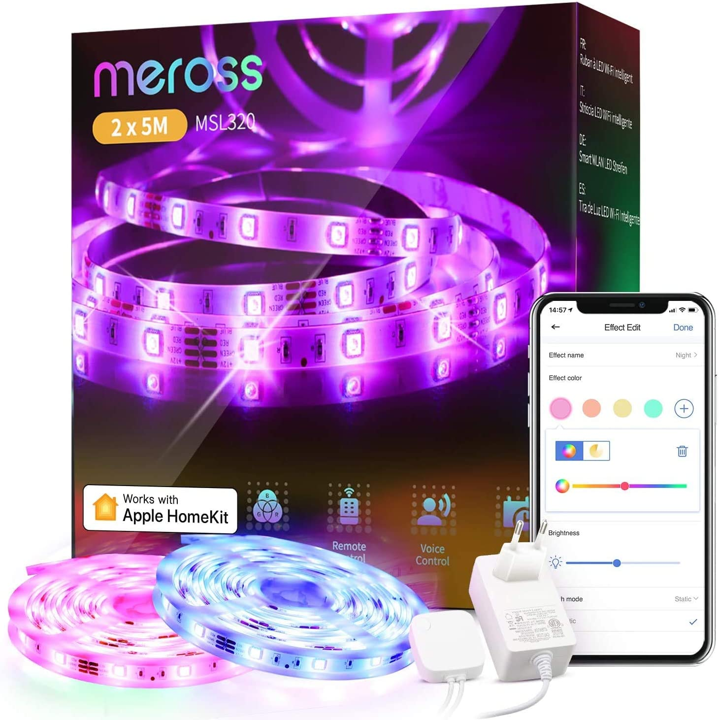 Led Strip Lights Works with Apple HomeKit, meross Smart 5050 RGB Strip, Compatible with Siri, Alexa&Google and SmartTings, for Home, Kitchen, Bedroom, Party, Christmas, Halloween, (2X5M)