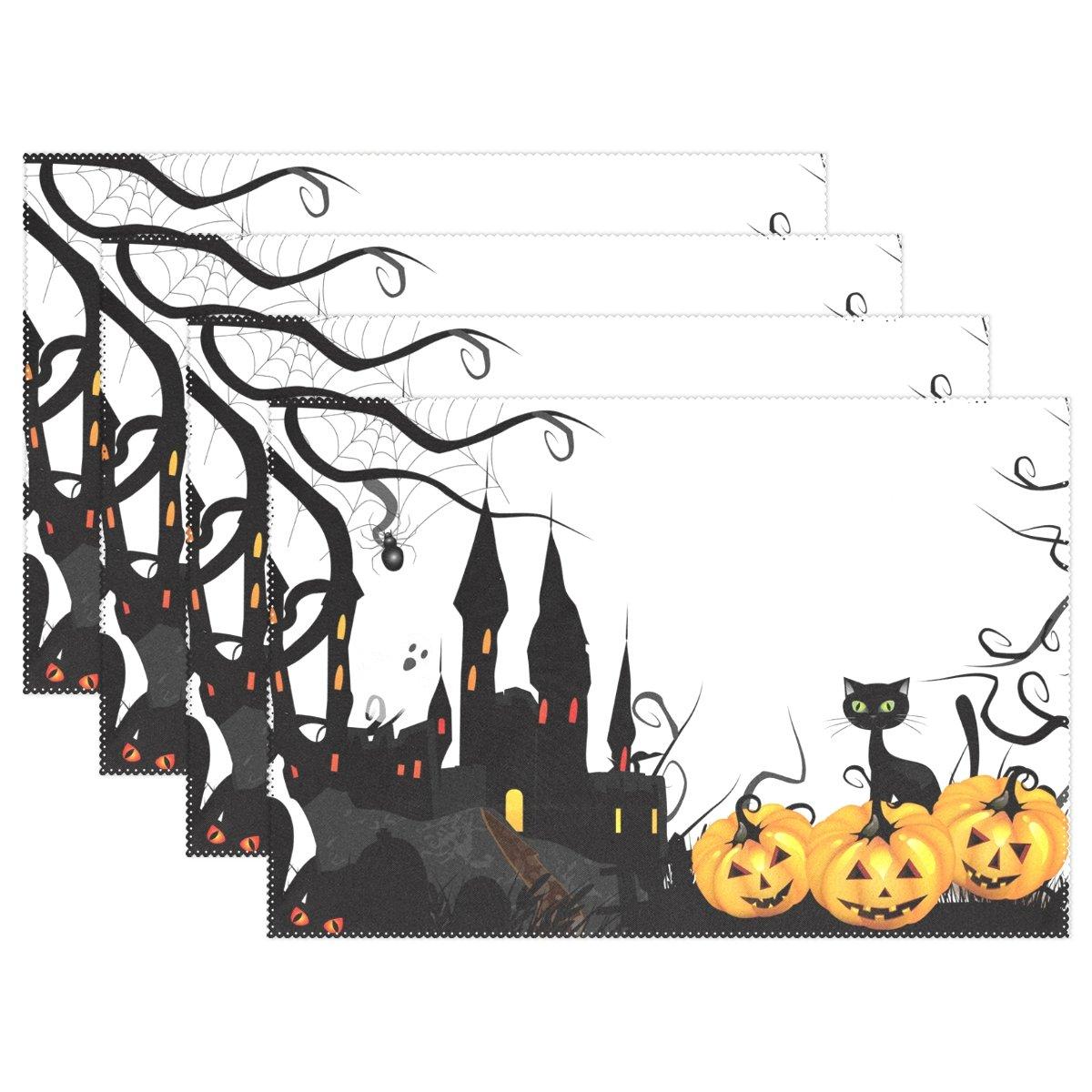 naanleハロウィンプレースマット、ブラックCat Pumpkin城耐熱Washableテーブルデコレーションを配置用マットキッチンダイニングテーブル 12*18inch 1214309p145c160s236 1 マルチカラー B0756ZRLD6