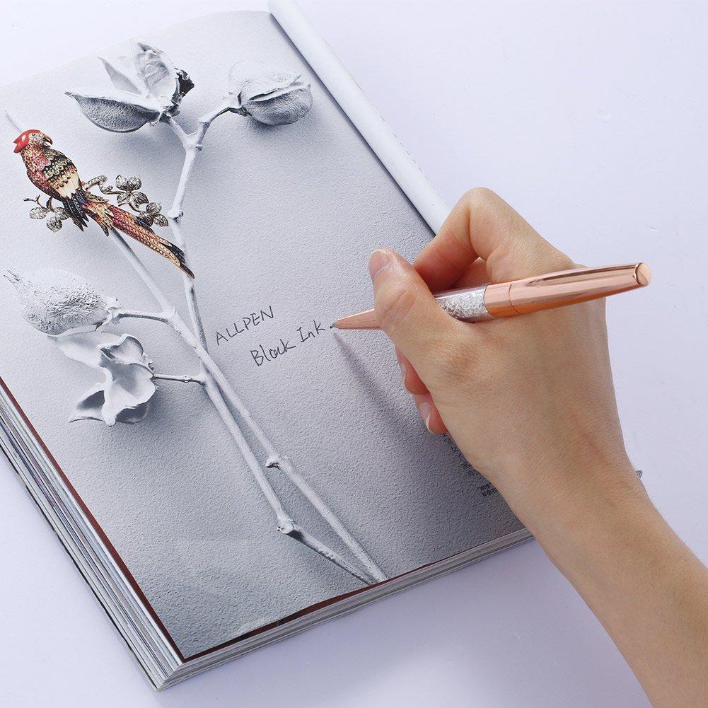 ALLPEN 12Pcs Rose Gold Pen Bling Diamond Crystal Pens Black Ink Metal Ballpoint Rhinestone Pen for Gift or Office Supplies by ALLPEN (Image #6)