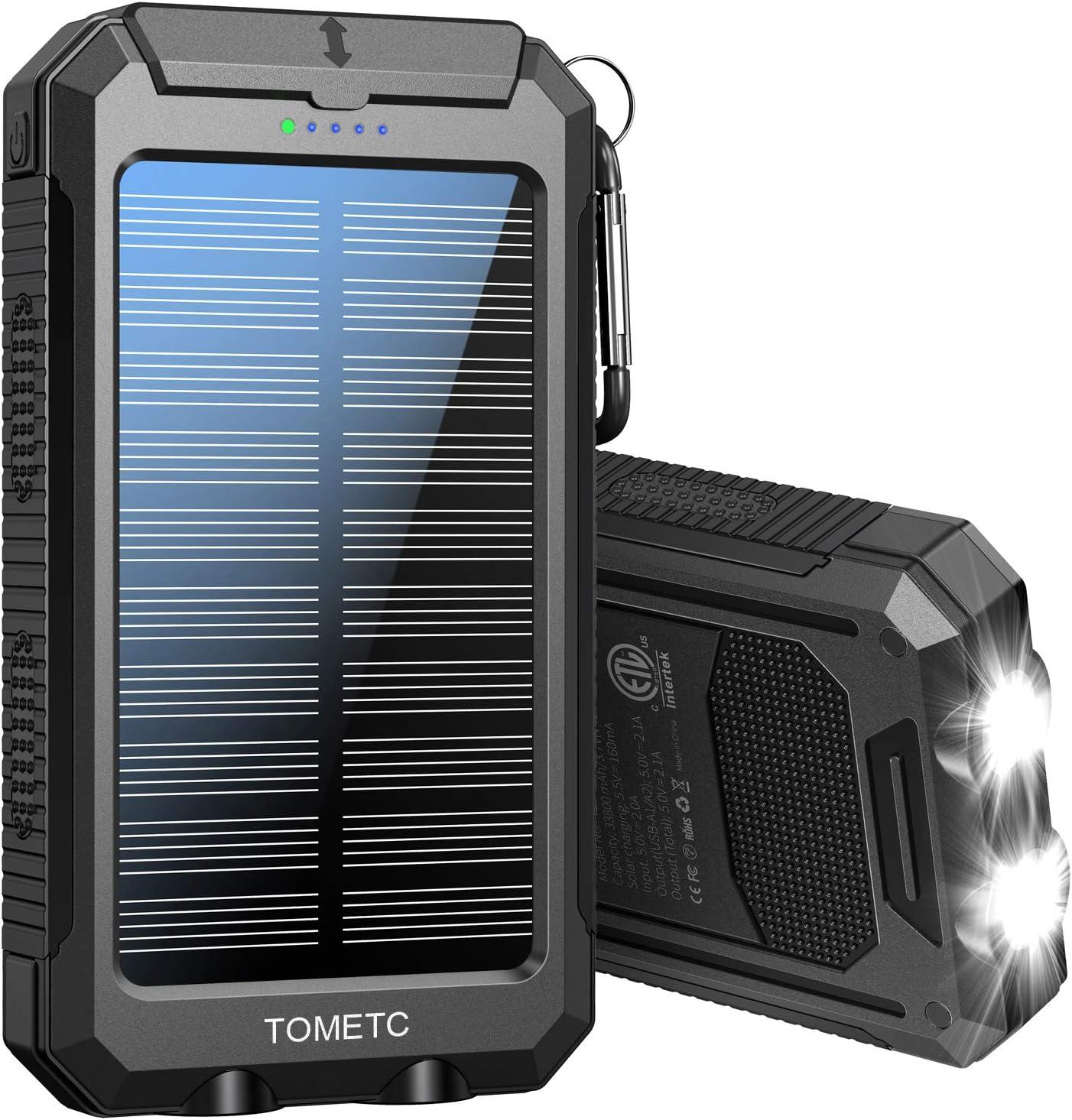 TOMETC 33800mAh 5V3.1A,18W PD QC 3.0 Dual 2 USB Portable Solar Power Bank $27.98 Coupon