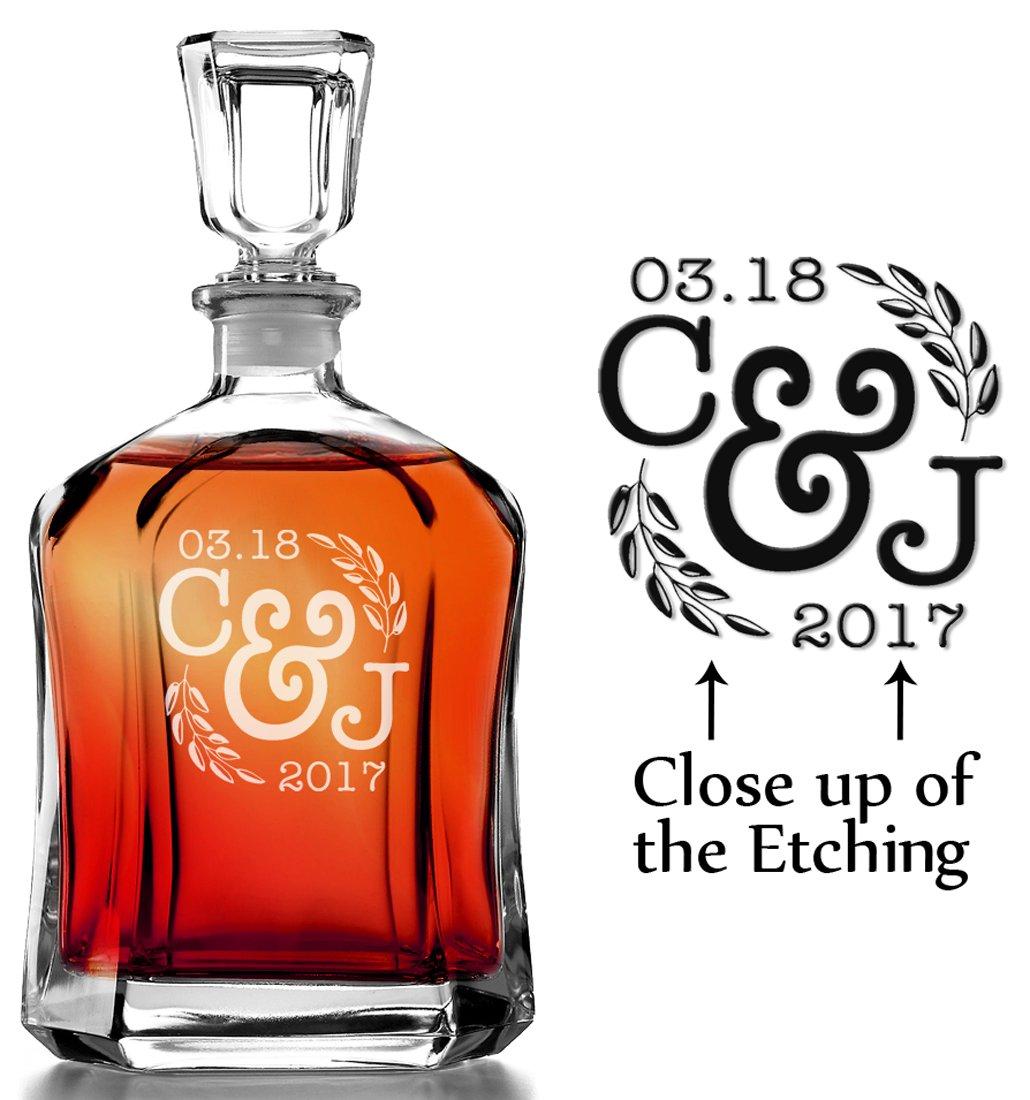 Initial Wreathe Monogram Custom Engraved Whiskey Decanter Personalized Men's Gift for Home Barware Decor Favor for Wedding Bridal Shower