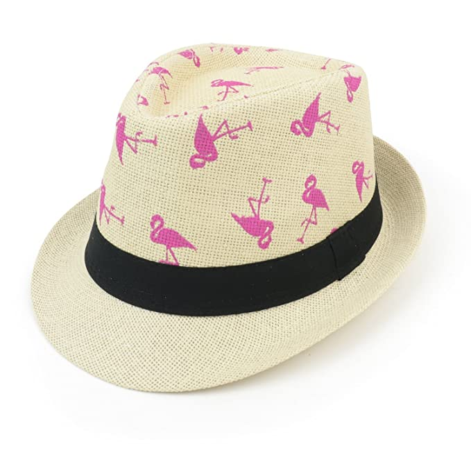 Armycrew Hot Pink Novelty Flamingo Print Summer Straw Fedora Hat - Beige 424294843f