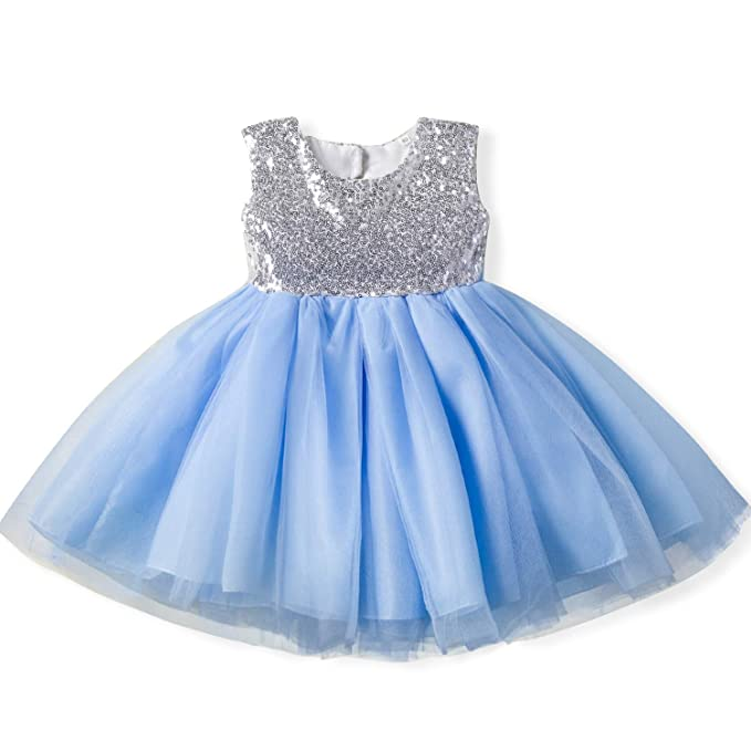f9489611144 NNJXD Toddler and Baby Girls Sequins Backless Tutu Tulle Dress Size 2-3  Years Blue