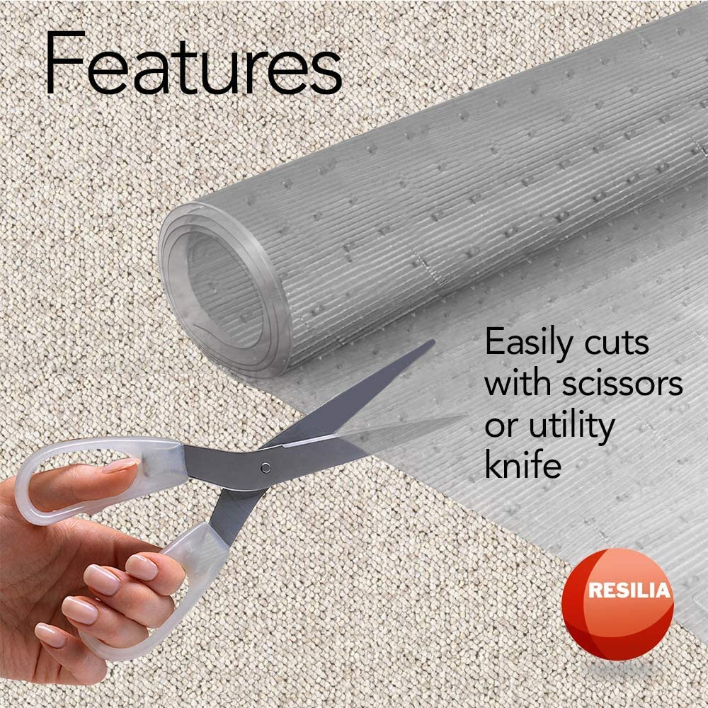 Resilia - Clear Vinyl Plastic Floor Runner/Protector for Low Pile Carpet - Non-Skid Decorative Pattern, (27 Inches Wide x 6 Feet Long): Furniture & Decor