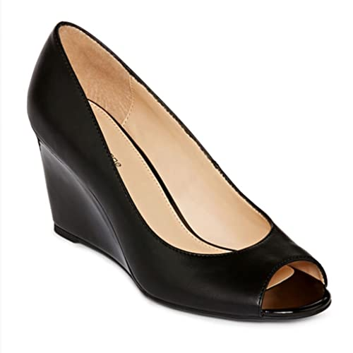 6a4911c4ae Liz Claiborne Paula Peep-Toe Wedge Pumps Womens 8 M Black: Amazon.ca: Shoes  & Handbags