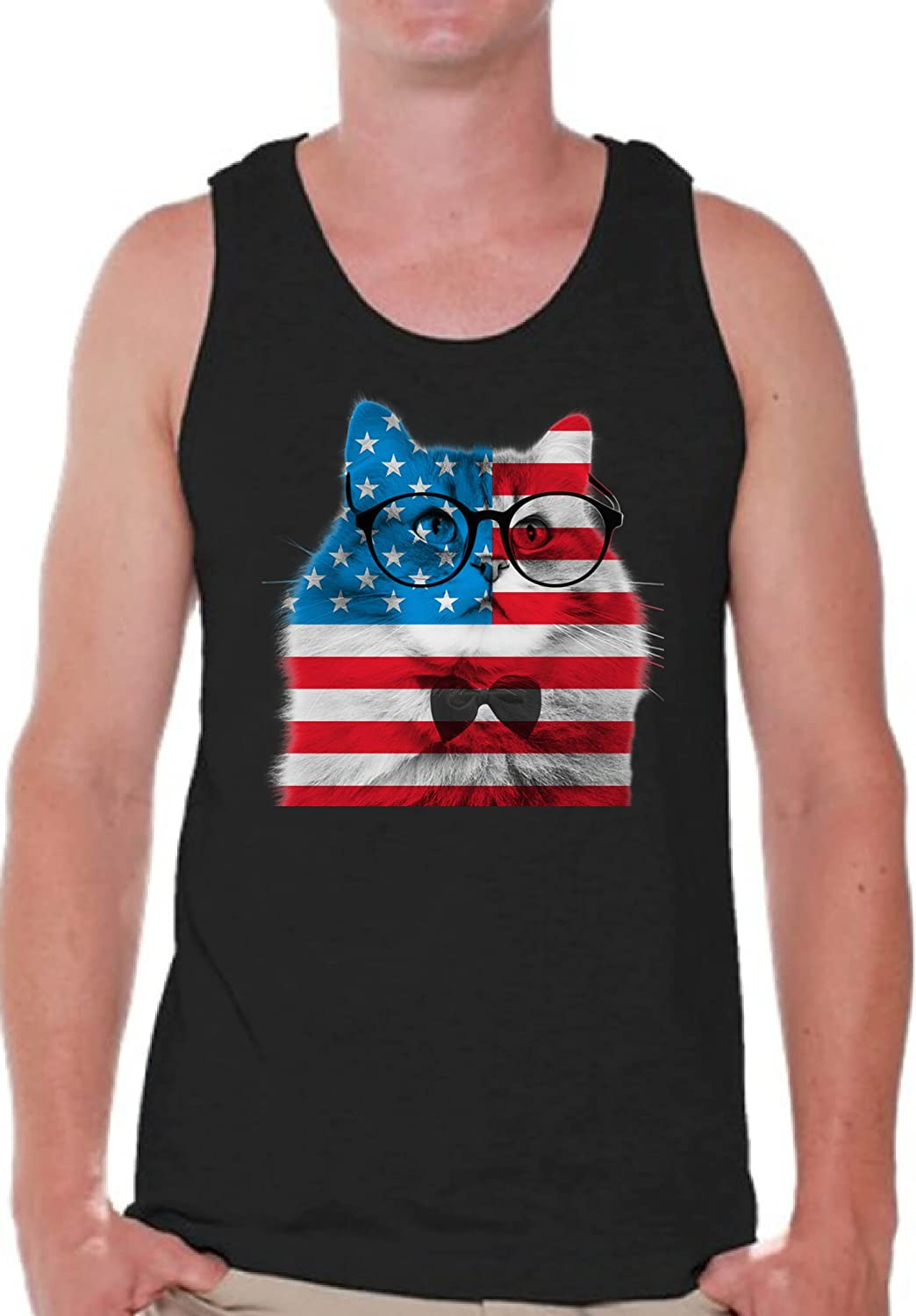 359f089381f73 Amazon.com  Pekatees USA Tanks for Men American Cat Tank Top Patriotic  Gifts for Him  Clothing