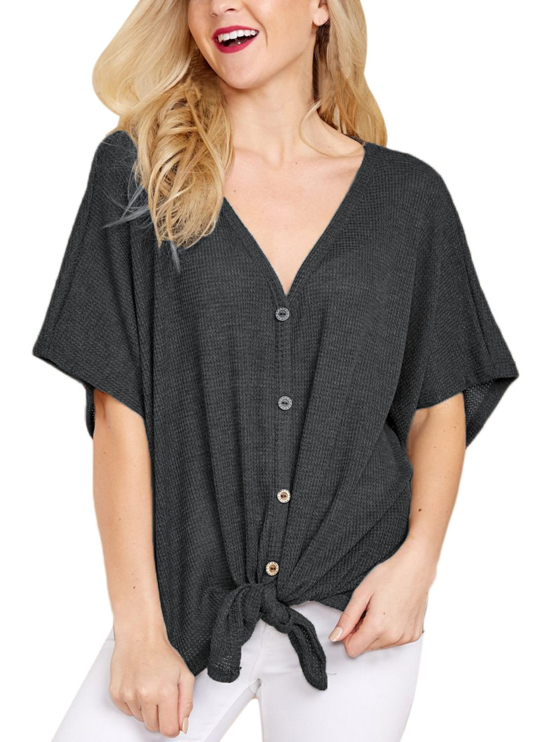 Lovezesent Women's Plus Size Casual Loose Fit Knitted Tunic Blouse Sexy V Neck Front Tie Knot Button Down Henley Shirts Tops Black XL