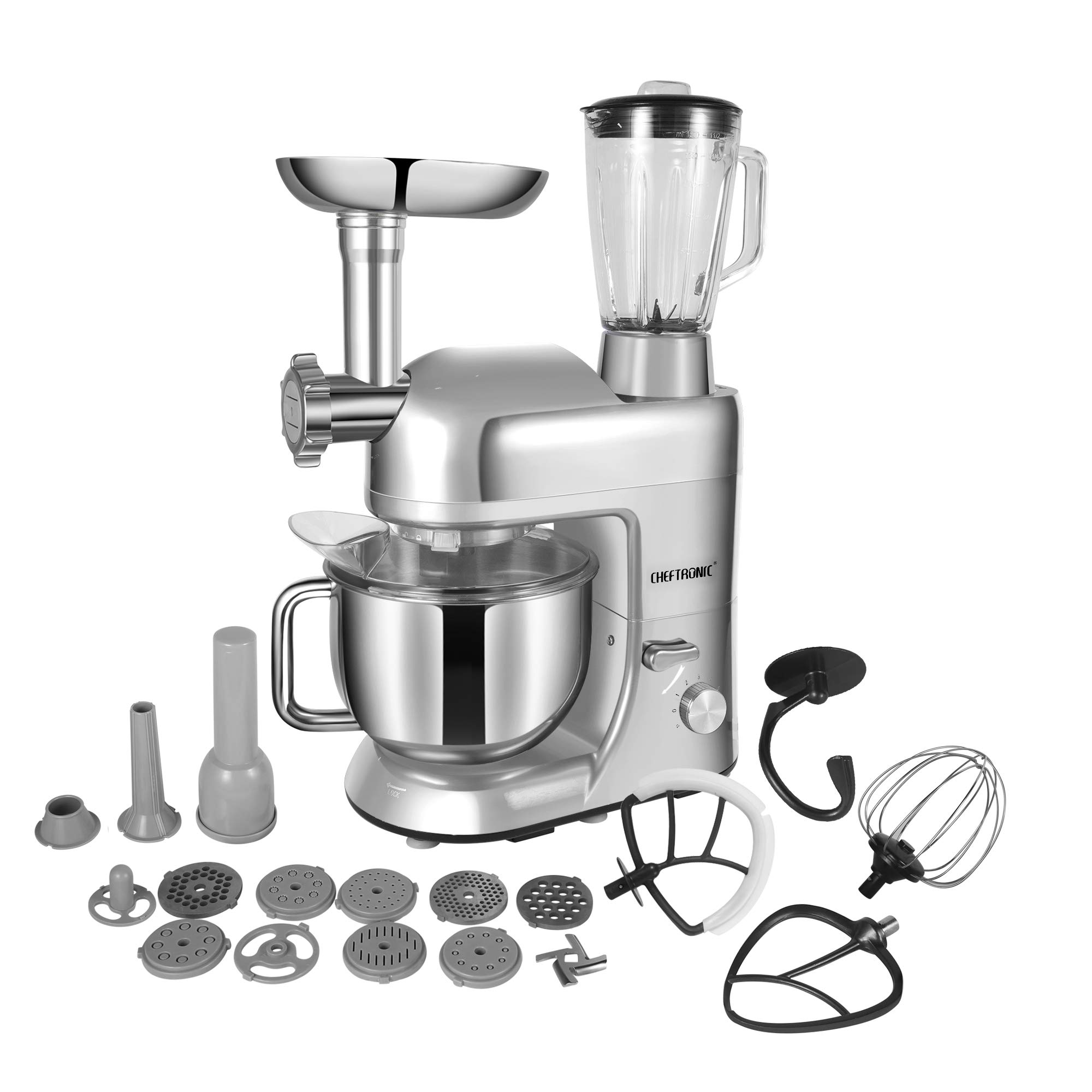 CHEFTRONIC SM1086-Silver Standing Mixer, One Size, Silver by CHEFTRONIC (Image #1)