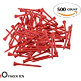 Finger Ten Golf Tees 2 3/4 inch Wood Color Bulk 250 500 1000 Count, with Free Deluxe Golf Tee Holder and Ball Marker for Men Women Kids