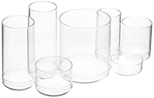 AmazonBasics Round Acrylic Cosmetic Makeup Organizer Storage for Brushes, Large