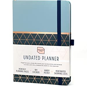 Boxclever Press Perfect Year Undated Planner. Achieve Your Goals with This Stunning Weekly Planner. 12 Month Non Dated Planner with Monthly Plans, to-Do's & Planner Stickers. 8.5 x 5.5'' (Geometric)