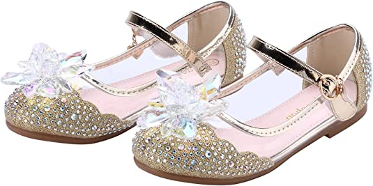 miaoshop Girls Dress Up Shoes Ballet Dance Flat Casual Front Glitter Flower Princess Mary Janes
