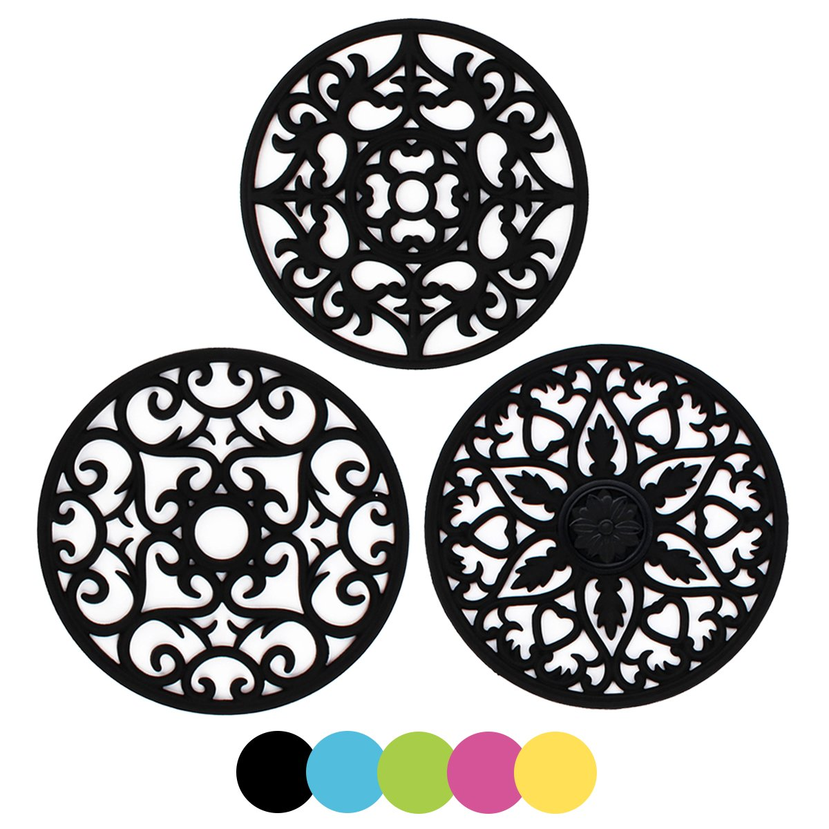ME.FAN 3 Set Silicone Multi-Use Intricately Carved Trivet Mat - Insulated Flexible Durable Non Slip Coasters (Black) by ME.FAN