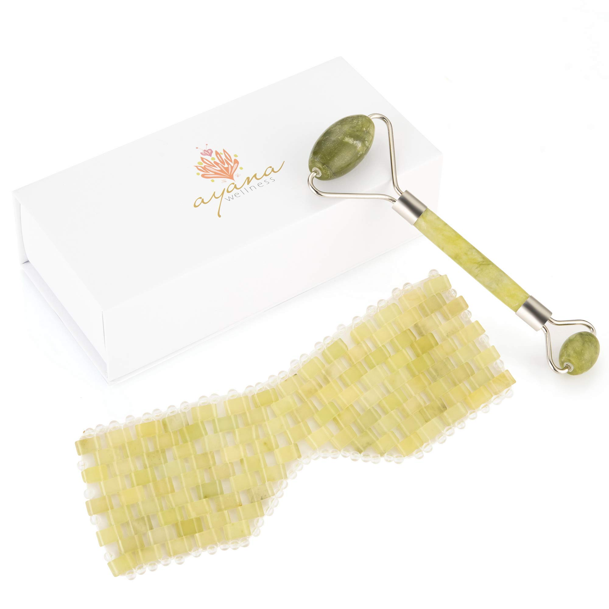 Green Jade Face Care Kit - Anti Aging Eye Mask With Jade Stones For Puffy Eyes and Dark Circles - Gua Sha Facial Roller for Lymphatic Drainage - Look Younger and Fresher - Enjoy Gentle Relaxation