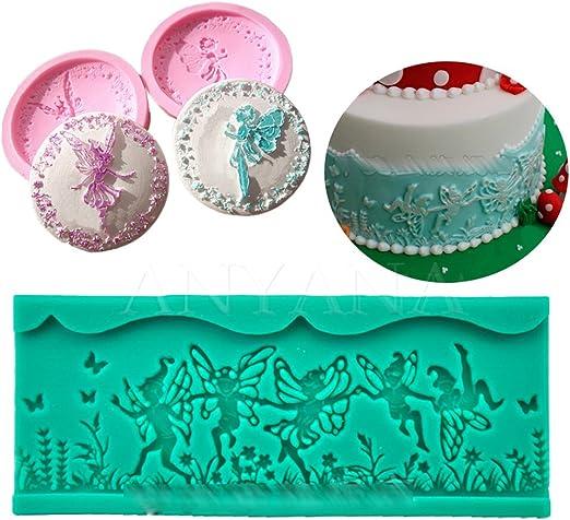 Anyana encaje de hadas y flores Cupcake parte superior decoración ...