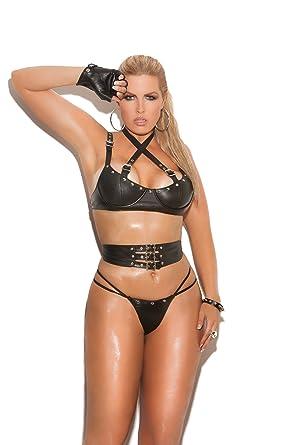 3e9ce65f5a Amazon.com  Hot Spot Women s Leather Buckle Strap Underwire Bra ...