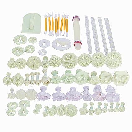 Moldes para decorar tartas y cortar galletas pasteles con formas, 68pcs de utensilios para fondant