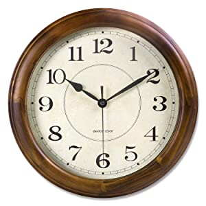 Kesin Wall Clock Wood 14 Inch Silent Wall Clock Large Decorative Battery Operated Non Ticking Analog Retro Clock for Living Room, Kitchen, Bedroom