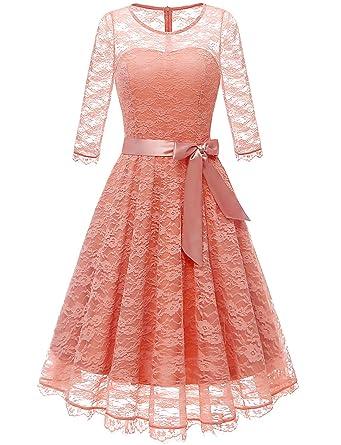 Gardenwed Damen 1950er Vintage Rockabilly Langarm Spitzen Kleid Schwingen  Partykleid Cocktailkleid Abendkleider  Amazon.de  Bekleidung d32cbe6f51