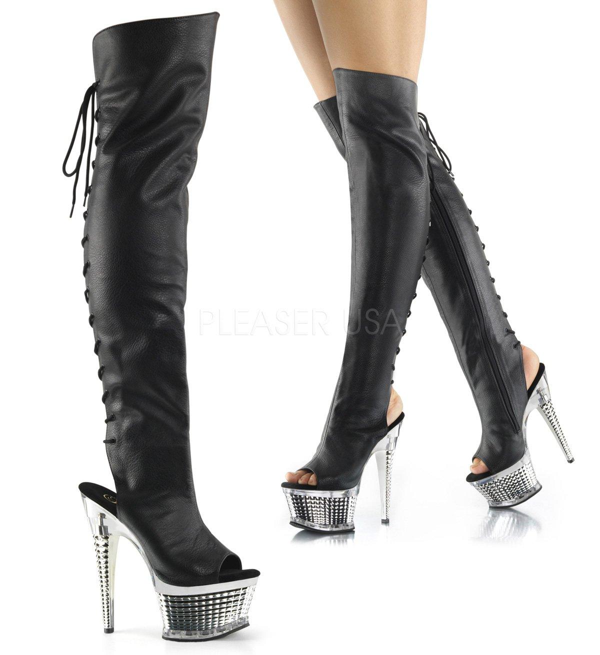 Pleaser Women's Illusion-3019 Over The Knee Boot B01M65PRQR 12 B(M) US|Blk Pu/Slv Chrome