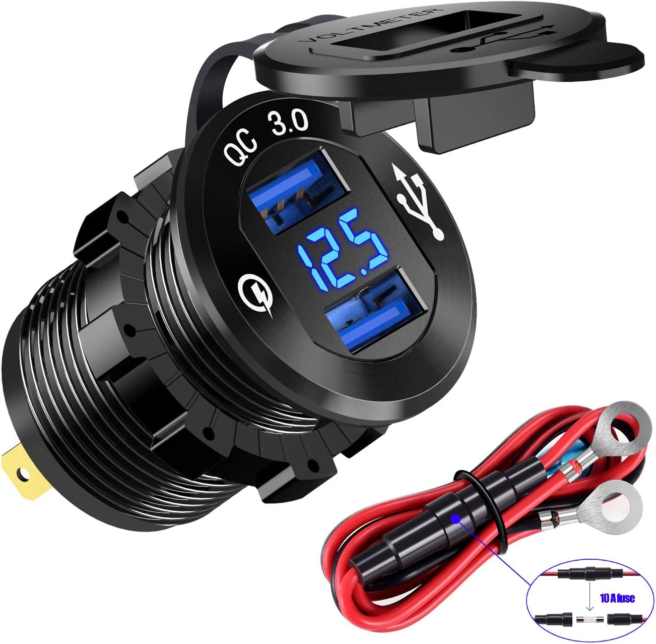 YonHan Quick Charge 3.0 Dual USB Charger Socket Waterproof Aluminum Power Outlet Fast Charge with LED Voltmeter /& Wire Fuse DIY Kit for 12V//24V Car Boat Marine ATV Bus Truck and More GSG2016AV-1